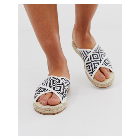Miss Selfridge cross over espadrille sandals in monochrome