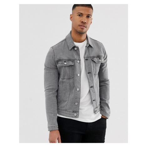 ASOS DESIGN skinny western denim jacket in grey