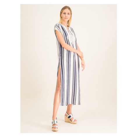 Tory Burch Sukienka codzienna Awning Stripe Caftan 57114 Beżowy Regular Fit