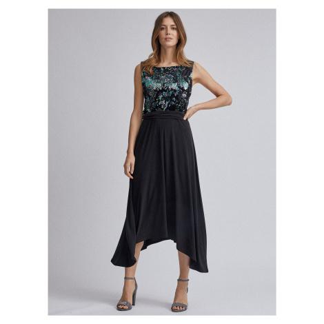 Dorothy Perkins czarna sukienka midi z cekinami