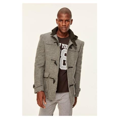 Trendyol Grey Mens Wool Duffle Coat-Shepherd-Button