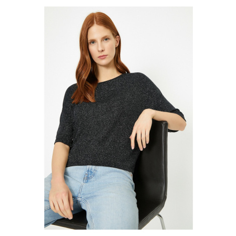 Koton Damski czarny brokatowy t-shirt