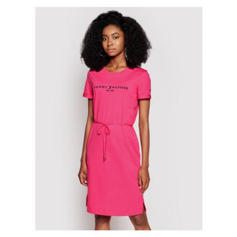Tommy Hilfiger Sukienka codzienna Th Cool Reg Ss WW0WW28189 Różowy Regular Fit