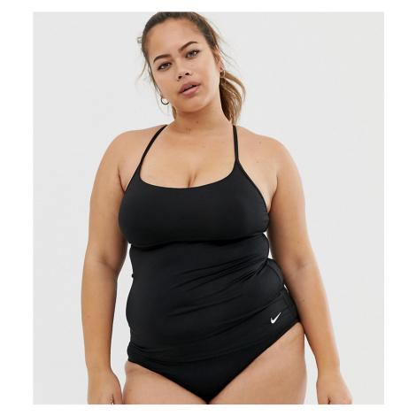 Nike Curve cross back tankini bikini top in black