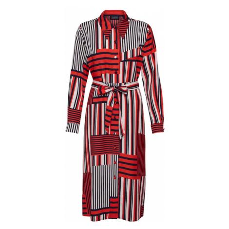 SELECTED FEMME Sukienka koszulowa 'Slfmyla-Florenta' pomarańczowo-czerwony / czarny / biały