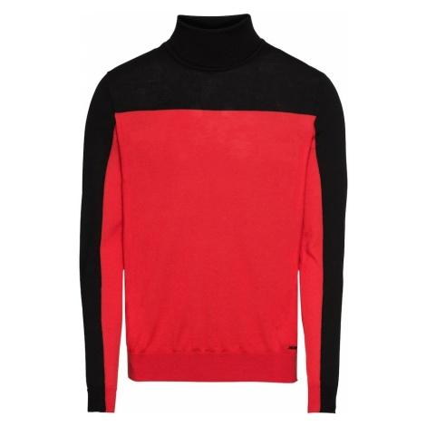 HUGO Sweter 'Santu 10213626 01' czerwony / czarny Hugo Boss