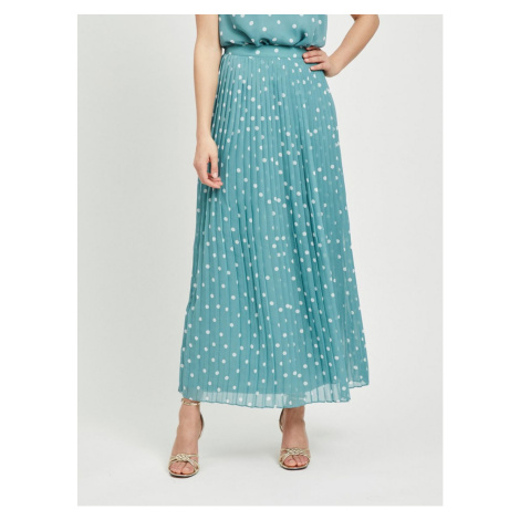 Blue pleated dotted maxi skirt VILA Yrsa