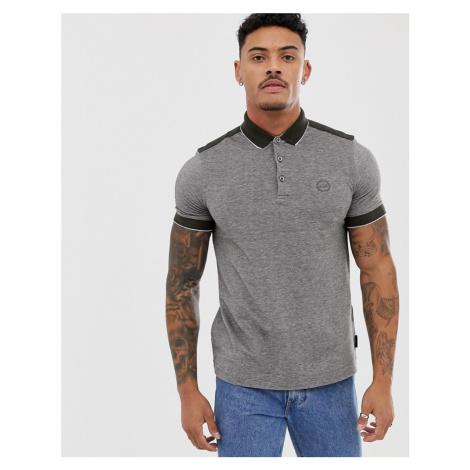 Armani Exchange slim fit tipped marl logo polo in khaki