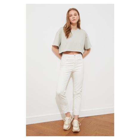 Trendyol Wysoka talia Slim Fit Dżinsy z białym wycięciem hem