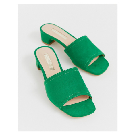 Miss Selfridge mules with low heel in green