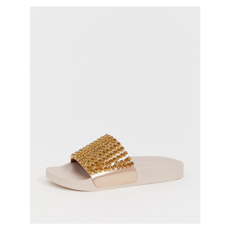 ASOS DESIGN Featuring embellished sliders in rose gold