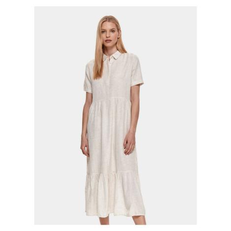 TOP SECRET kremowa koszulowa sukienka midi
