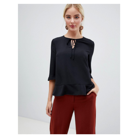 French Connection V-Neck Blouse with Sateen Piping
