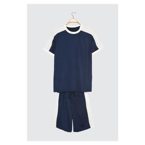 Modny Granatowy Męski dres z regularnym dopasowaniem Trendyol
