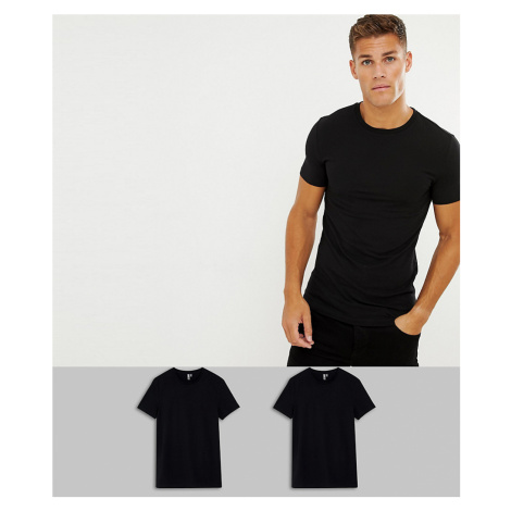 ASOS DESIGN 2 pack organic muscle fit crew neck t-shirt in black save