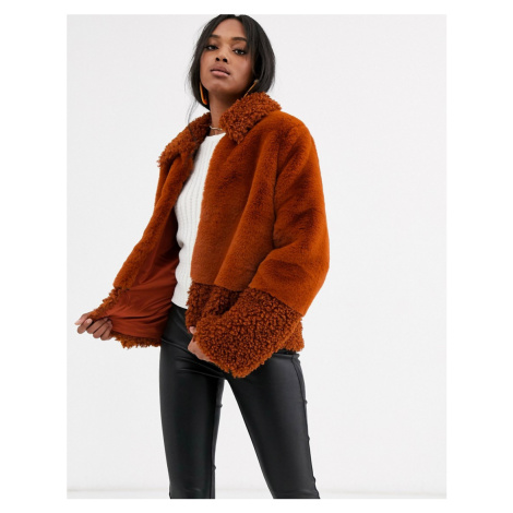 Y.A.S faux fur & teddy mix short coat