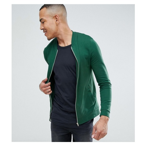 ASOS DESIGN Tall muscle jersey bomber jacket in green