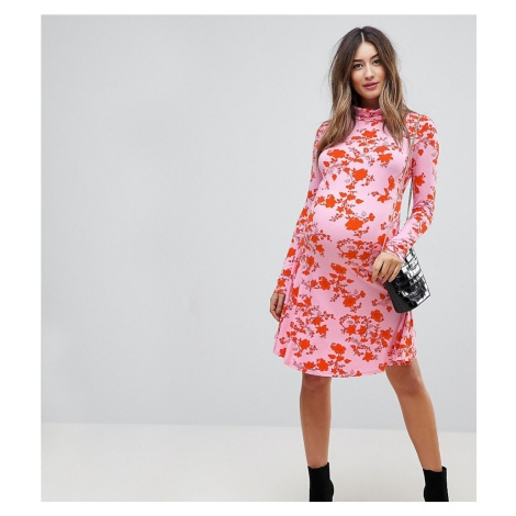 ASOS Maternity Polo Neck Mini Dress with Godets in Floral Print