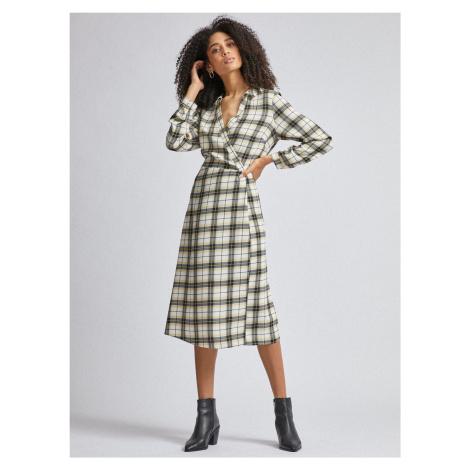 Dorothy Perkins czarno-kremowa sukienka midi w kratę