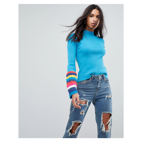 ASOS Jumper in Rib with Roll Neck and Stripe Fluted Sleeves