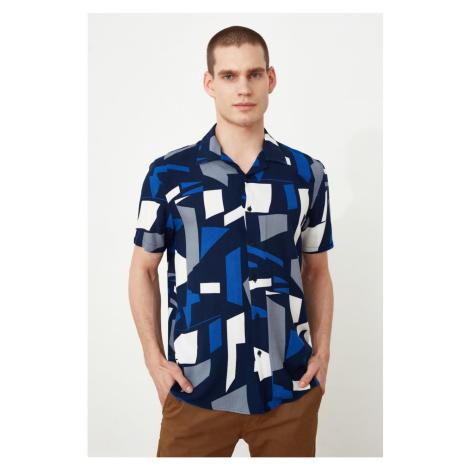 Trendyol Czarny Męskie Regularne Dopasowanie Apaş Kołnierz Geometryczny Koszula