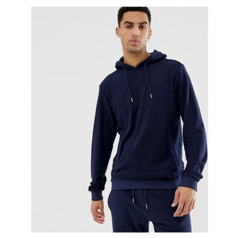 Bellfield slub towelling hoodie in navy