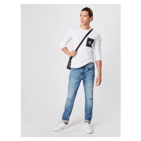 Calvin Klein Jeans Koszulka 'MONOGRAM POCKET SLIM LS TEE' czarny / biały
