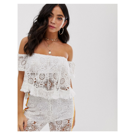 White Cabana white lace crop top co ord with rainbow stripe