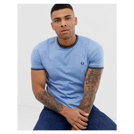 Fred Perry twin tipped t-shirt in sky blue