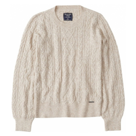 Abercrombie & Fitch Sweter 'BTS19-CABLE CREW 3CC $58' kremowy