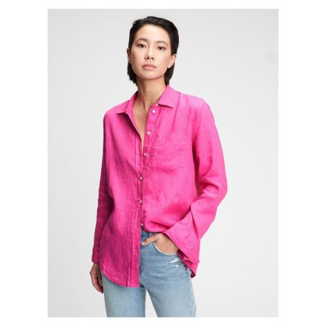 GAP różowa koszula damska ls linen bf sh