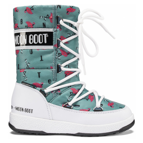 buty Tecnica Moon Boot We Quilted Flamingo - White/Light Green