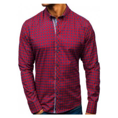 Koszula męska w kratę z długim rękawem czerwona Bolf 8833