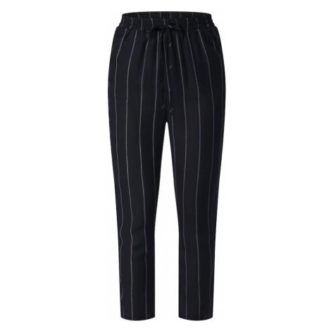Missguided Spodnie 'STRIPE TIE WAIST TROUSER' czarny / naturalna biel