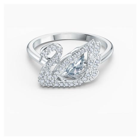 Pierścionek z kolekcji Dancing Swan, biały, powlekany rodem Swarovski