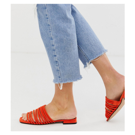 Miss Selfridge flat sandals with multi straps in orange