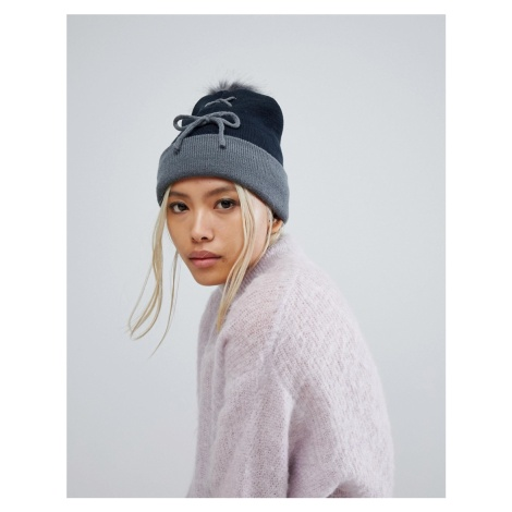7X Lace Up Front Beanie Hat