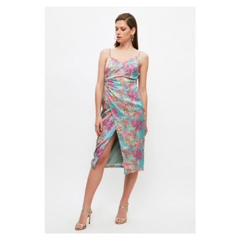Trendyol Multi Colored Floral Printed Satin Dress