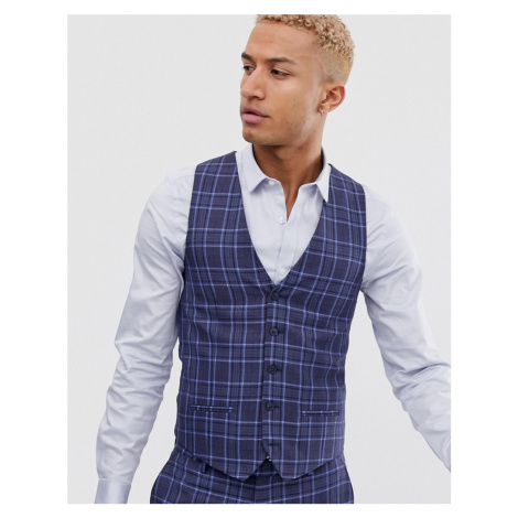 River Island suit waistcoat in blue check