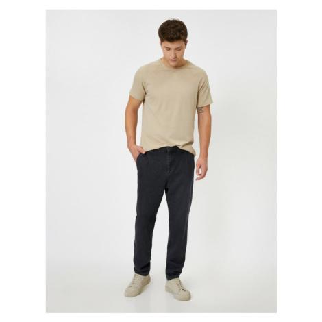 Koton Męskie czarne dżinsy kieszonkowe