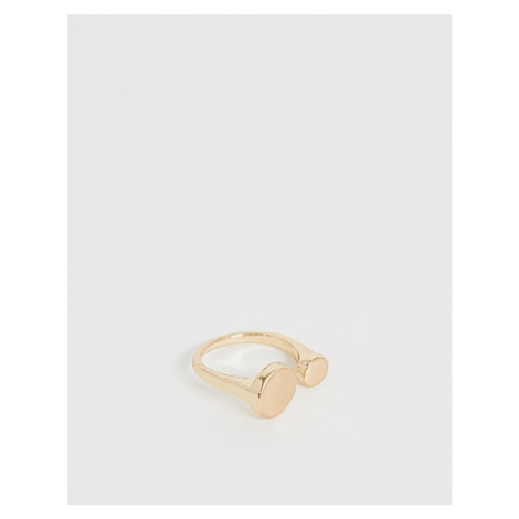 ASOS DESIGN ring with brushed graduated circle design in gold
