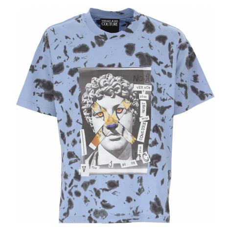 Versace Jeans Couture Koszulka dla Mężczyzn, jasny niebieski, Bawełna, 2021