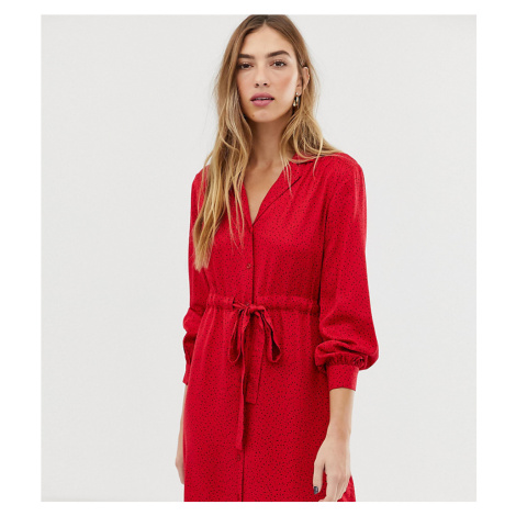 Warehouse shirt dress with letter print in red