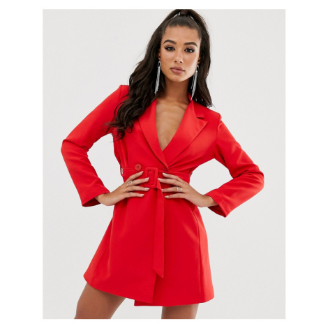 Boohoo exclusive tux dress with belted waist in red