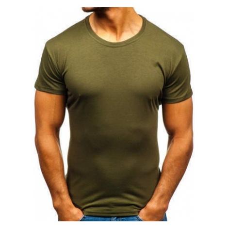 T-shirt męski bez nadruku ciemnozielony Denley 2005 J.STYLE