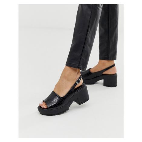 ASOS DESIGN Steal chunky slingback mid heels in black croc
