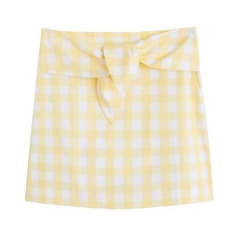 MANGO Spódnica 'LACITO' pastelowo-żółty / biały
