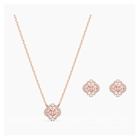 Zestaw Swarovski Sparkling Dance Clover, różowy, w odcieniu różowego złota