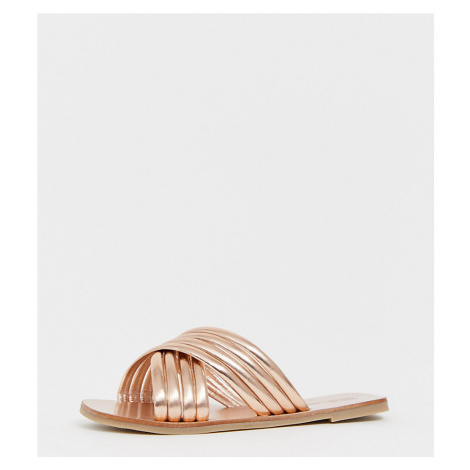 ASOS DESIGN Wide FIt Falsetto cross strap flat sandals in rose gold