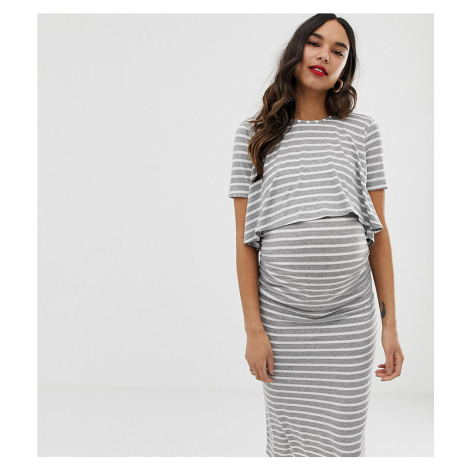 Bluebelle Maternity 2 in 1 striped dress with short sleeve in grey and white